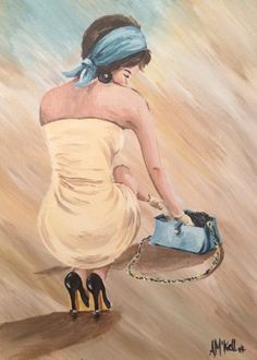 Acrylic, girl with hand bag canvas Original artwork by Alex Mckell
