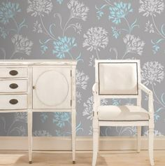Nerida Light Grey Floral Silhouette - Decorative Wall Paper