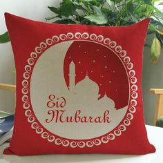 Get in the mood for Eid with this printed red cushion cover Pattern is printed on the front of cushion cover Cover measures 18 in by 18 in Invisible zipper clos