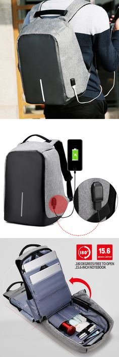 US$38.99 + Free shipping. Anti-theft Backpack, Waterproof Travel Bag With USB Charging Port, men's waterproof backpack, men's waterproof travel bag.Material: Oxford. Color: Light Grey, Black, Purple.External USB port with built-in charging cable, large capacity and thief proof design.Your best choice while you are going to a business trip, weekend trip, school, hiking, cycling, work etc.