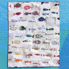 This listing is for a PDF (digital) pattern. Folksy Fish is a fun, quirky, and easily customizable foundation paper pieced design with gradual,. Ocean Quilt, Fish Quilt, Rainbow Quilt, Quilting Blogs, Quilting Designs, Modern Quilting, Boy Quilts, Mini Quilts, Boys Quilt Patterns