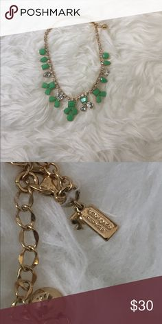 Kate Spade Statement Necklace Kate Spade Statement Necklace gold setting with diamond and green stones. Adjustable chain. Gently worn, no flaws. kate spade Jewelry Necklaces