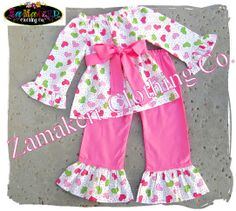 Valentines Day Girl Heart Outfit Set - Girl Pant Set - Baby Custom Boutique Girl Clothes 3 size 3T Pink Green