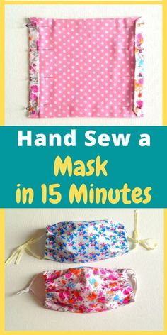 Learn how to hand sew a face mask in just 15 minutes. This FREE DIY sewing tutorial comes with instructions that makes it easy for any beginner., How to Hand Sew a Face Mask in 15 Minutes - Sew Crafty Me Sewing Patterns Free, Free Sewing, Sewing Tutorials, Sewing Hacks, Sewing Crafts, Sewing Tips, Sewing By Hand, Fabric Scrap Crafts, Fabric Art