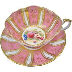 Paragon Gilt Pink With Fruit Tea Cup and Saucer from Tannery Creek Antiques.