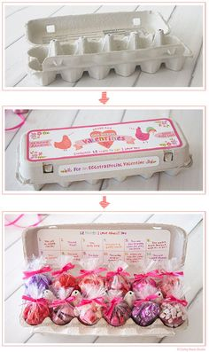 Egg carton 12 days of valentines. could make a good idea for an advent count down or even countdown to easter! Valentines Day Presents, Valentine Day Crafts, Valentine Decorations, Be My Valentine, Valentine Ideas, Cute Gifts, Diy Gifts, Secret Pal Gifts, Advent