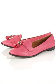 Pink leather retro tassel shoes... want now! Via Topshop.com $60