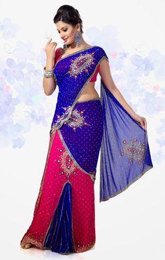 Multi Colored #PartyWear #Saree/Sari  For More Sarees/Saris Check this page now :-http://www.ethnicwholesaler.com/sarees-saris