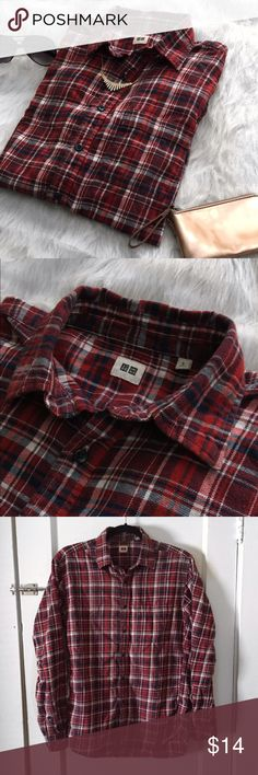 Red Plaid Uniqlo Shirt Red plaid Uniqlo button-down shirt. Size Small. Uniqlo Tops Button Down Shirts