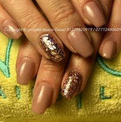 Nude gel polish shellac with pink chunky glitter nail art