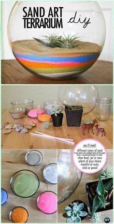 DIY Rainbow Sand Art Terrariums Instruction - DIY Sand Art Terririum Ideas Projects & Tutorials