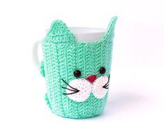 Crochet Mug Cozy with cup Cat Mug Warmer Cup Cozy by CatANeedle