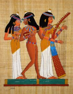 Egyptian papyrus art: Musicians of Amun, Tomb of Nakht, Dynasty, Western Thebes. all hand painted From Cairo with Love. Famous Artists, Cairo, Ancient Egypt, Egyptian, Disney Characters, Fictional Characters, Hand Painted, Disney Princess, Closer