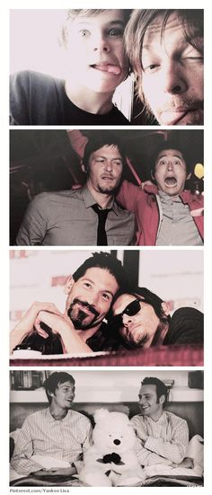 Reedus and some of the cast of TWD. Chandler Riggs, Steven Yeun, Jon Bernthal and Andrew Lincoln.