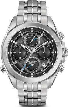 8 Hand calendar with chronograph, WR up to Color: stainless steel. Best Watches For Men, Cool Watches, Bulova Watches, Silver Pocket Watch, Casio G Shock, Watches Online, Stainless Steel Watch, Casio Watch, Luxury Watches