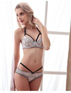 Thin transparent Bra Lace Bra Sets Bra Panties Sexy Lace Panties Push up Bra Lace Women Underwear Set