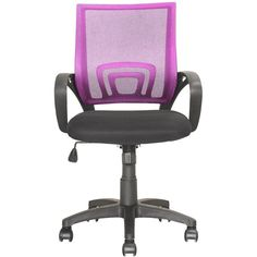 CorLiving - Workspace 5-Pointed Star Mesh Linen Fabric Chair - Black/Pink, LOF-322-O