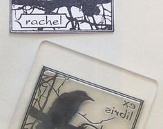 Personalized Crow Ex Libris Bookplate Rubber Stamp B08