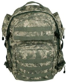 NcStar Tactical DIGITAL CAMO Pack by NcStar. $36.25. NcStar Tactical Back Pack has a large zippered clam-shell main compartment, an internal zippered pocket and a separate divided compartment for a hydration bladder. Other features include padded shoulder straps, waist and sternum straps, two adjustable compression straps on each side of the military back pack, and six external zippered pockets providing ample storage space. The front pockets and bottom of the b...