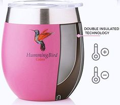 Amazon.com | Insulated Wine Glasses by HummingBird Colors - Stainless Steel Tumbler Cups with Double Wall Vacuum and Powder Coated - Stemless and BPA Free Shatterproof Lid - Set of 2 for Home or Outdoor Travel: Tumblers Hummingbird Colors, Tumbler Cups, Outdoor Travel, Tumblers, Wine Glass, Powder, Stainless Steel, Amazon, Glasses