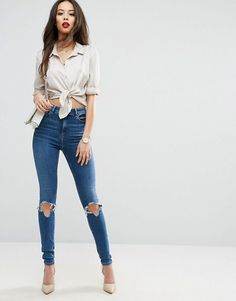 ASOS TALL RIDLEY Skinny Jeans In Roy Dark Stonewash with Busted Knees