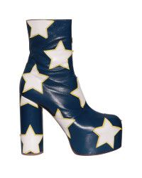 Vetements Star-Motif Leather Ankle Boots in White (Blue) | Lyst