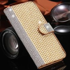 Bling Crystal Wallet Leather Case Cover Apple iPhone 6 6S 4.7 Gold