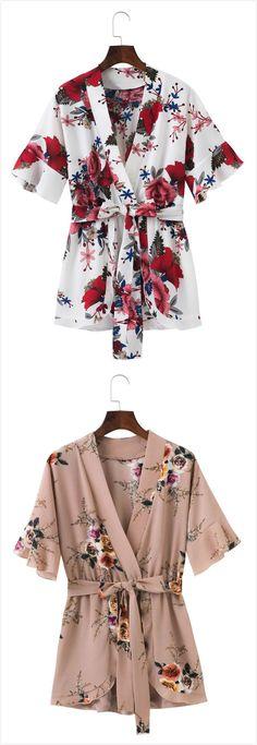 Fashion V Neck Floral Printed Romper With Belt