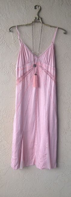 Image of Romantic gypsy Guess Silk Peach vintage lace slip dress wth beads