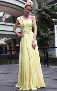 New Fashional Yellow Cocktail Prom Satin Draped Formal Long Evening Dress