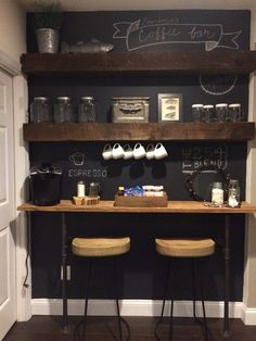 Coffee Bar Ideas - Looking for some coffee bar ideas? Here you'll find home coffee bar, DIY coffee bar, and kitchen coffee station. Coffee Bar Station, Home Coffee Stations, Tea Station, Coffee Bars In Kitchen, Coffee Bar Home, Kitchen Small, Kitchen Layout, Coffee Corner Kitchen, Kitchen Island
