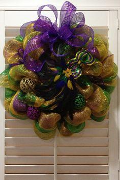 Mardi Gras Wreath - Mardi Gras Mask - Purple Green & Gold Deco Mesh Wreath. $65.00, via Etsy.