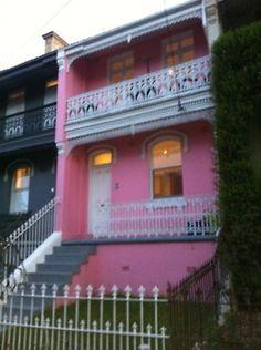 hot pink facade