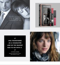 Read up on how movie makeup artist Victoria Down created beauty looks for The Fifty Shades of Grey movie. Makeup Geek, Makeup Kit, Makeup Addict, Beauty Makeup, Top Beauty, Beauty Stuff, Makeup Products, Shades Of Grey Movie, Fifty Shades Of Grey