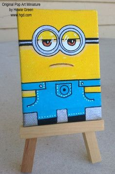 Pop Art Miniature ACEO Original painting Minion by by howiegreen,