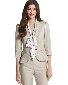 Love this sophisticated fitted jacket and pank suit for formal presentations and speaking engagement. Not sure about the neutral tone, though.