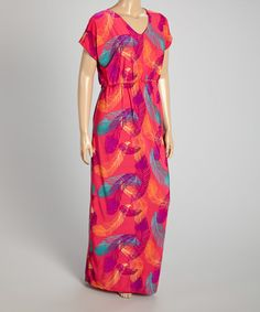 Loving this Pink Feather Maxi Dress - Plus on #zulily! #zulilyfinds