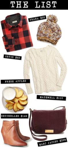 The List (for November): buffalo plaid, pom beanies, heavy knits, booties and berry leather bags.