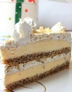 Egyiptomi álom (Egyptian Dream- walnut and vanilla cream cake) Hungarian Desserts, Hungarian Recipes, Esterhazy Torte, Fun Desserts, Dessert Recipes, Icebox Cake, Homemade Cakes, Pain, Cake Cookies