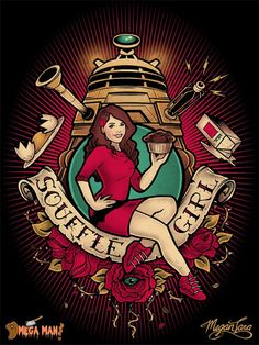 "Mucha Style - "" #SouffleGirl"" "" #DrWho"" Illustration in style of ""Alphonse Mucha"" by ""Megan Lara"""