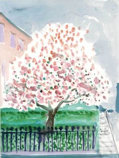 David Hockney (British, b. 1937), Magnolia Edwards Square, 2002. Watercolour on paper, 74.9 x 55.6 cm.