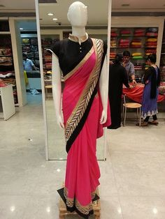 pink and black Pakistani Outfits, Indian Outfits, Indian Clothes, Bollywood Dress, Bollywood Fashion, Indian Attire, Indian Wear, Indian Wedding Wear, Simple Sarees