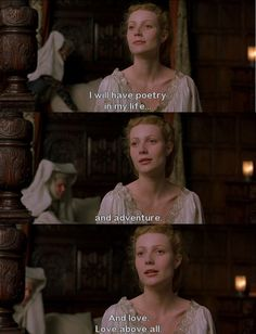 One of my favourite movie quotes ever - Shakespeare in Love - Movie Quotes Shakespeare In Love, Romantic Movie Quotes, Favorite Movie Quotes, Famous Movie Quotes, Favorite Things, Film Quotes, Poetry Quotes, Funny Quotes, Love Movie