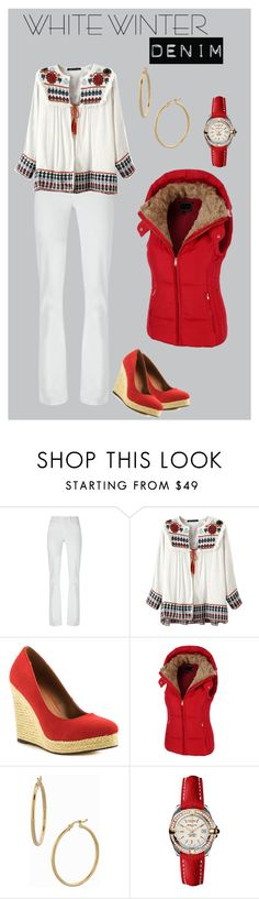 """""""Winter White Denim"""" by lacehearts58 on Polyvore featuring Tory Burch, Michael Antonio, LE3NO, Bony Levy, Breitling and winterwhite"""