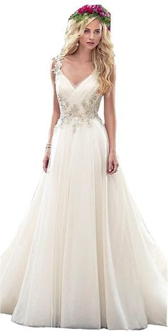 Irenwedding Women's V Neck Ruched Backless Appliqued Tulle A Line Wedding Dress at Amazon Women's Clothing store: