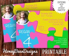Printable Puzzle Birthday Party Invitation By
