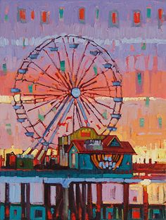 """""""Sunrise at the Ferris Wheel"""" by Rene Wiley by René Wiley Gallery Oil ~ 24 x 18"""