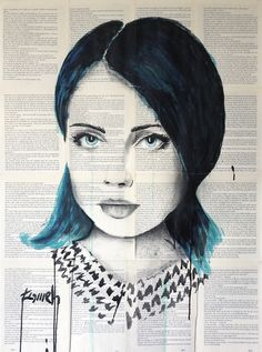 Ink and acrylic drawing on archaic book pages by Hussein Tomeh Newspaper Art, Artworks, Watercolor, Ink, Photo And Video, Lady, Drawings, Videos, Instagram