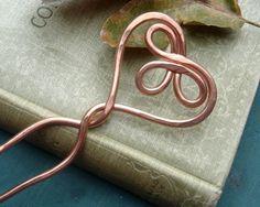 Celtic Heart Copper Hair Sticks Hair Fork by nicholasandfelice