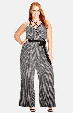 City Chic 'Plunge' Print Surplice Wide Leg Jumpsuit (Plus Size) available at #Nordstrom
